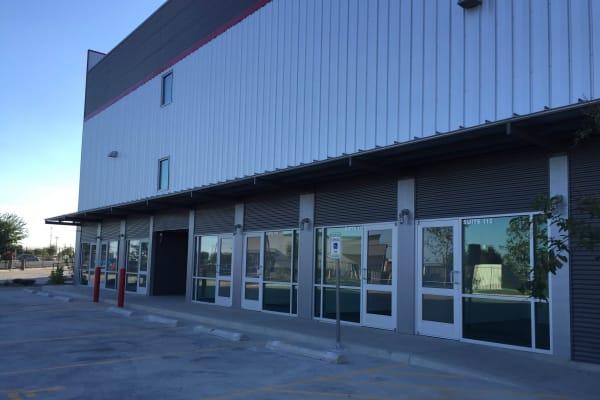 Row of office rental entrances at Lockaway Storage in Converse, TX