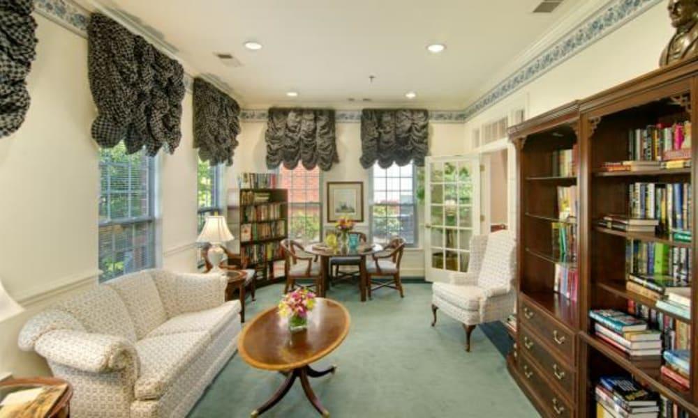 A quiet reading area at Chancellor's Village in Fredericksburg, Virginia