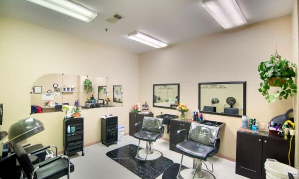 An onsite hair salon at Chancellor's Village in Fredericksburg, Virginia