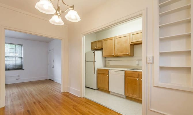 Hardwood flooring at Westminster and Amherst Apartments in Rochester, New York