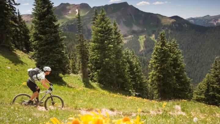 Man biking in the mountains