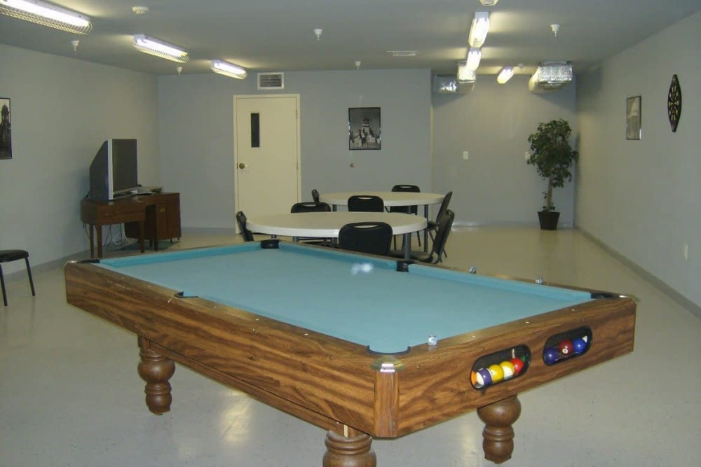 A spacious billiards room at Atlantic at Twin Hickory in Glen Allen, Virginia