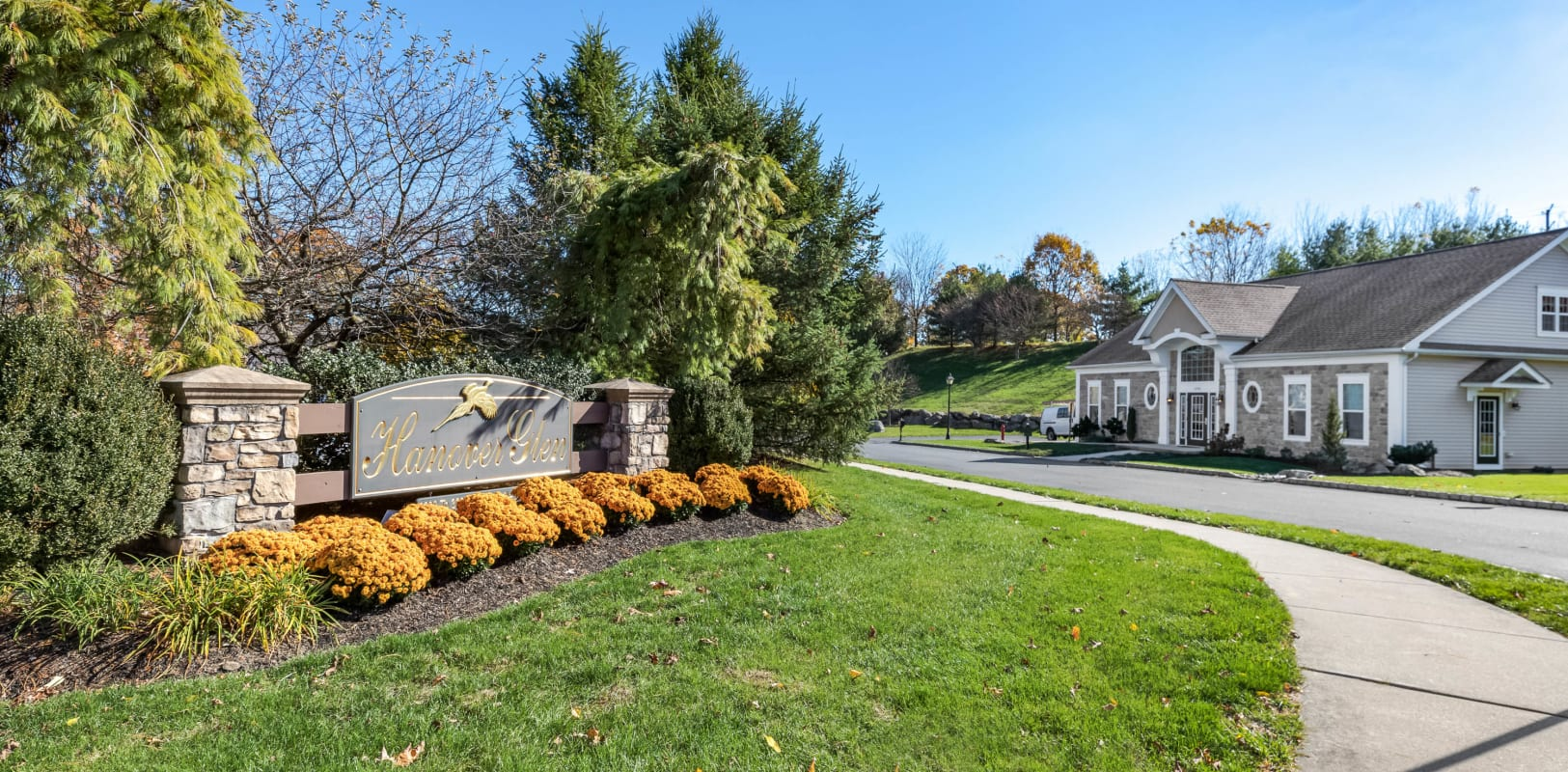 Our monument sign welcoming residents and their guests to Hanover Glen in Bethlehem, Pennsylvania