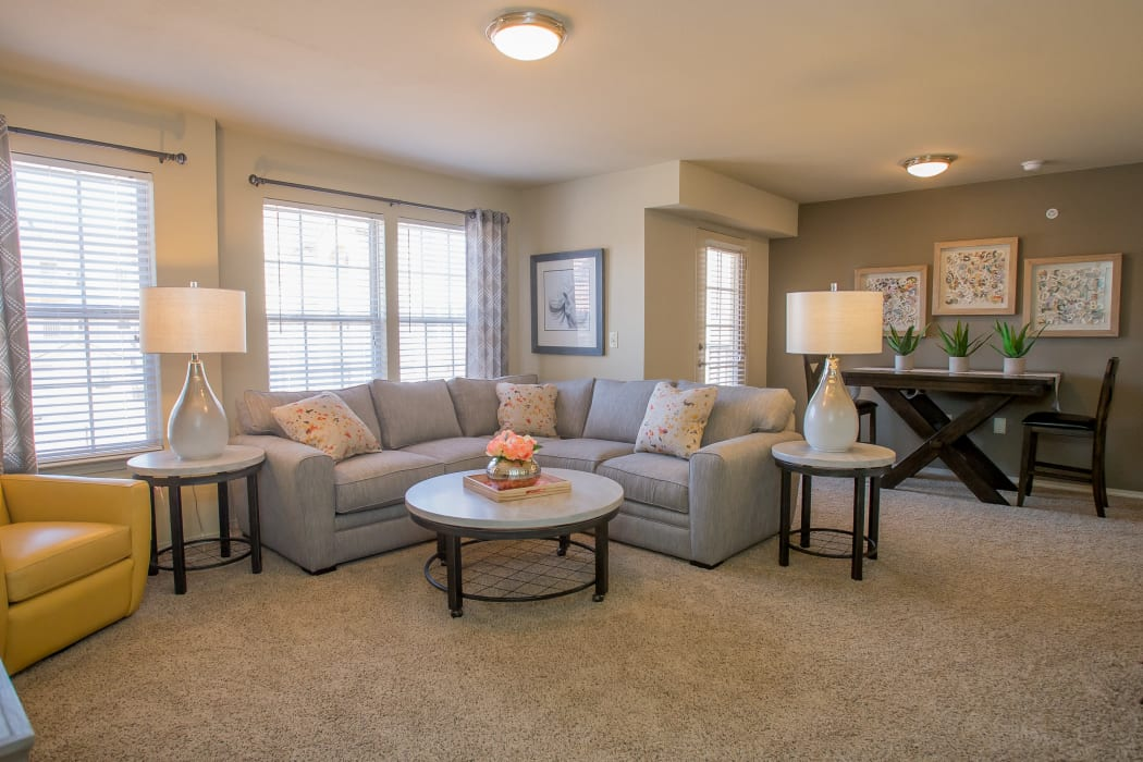 Wonderful living room at Mission Point Apartments in Moore, Oklahoma