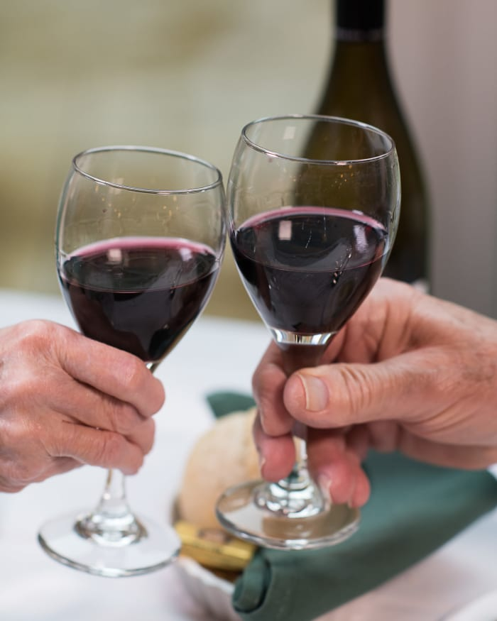 Residents drinking wine at Fancho's at The Springs at Tanasbourne in Hillsboro, Oregon.