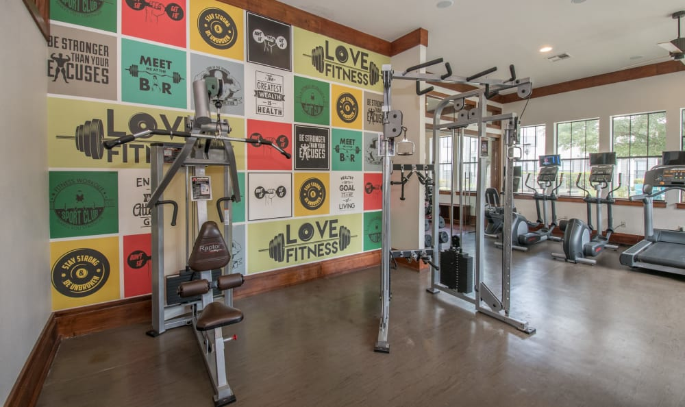 Large fitness center at Villas Tech Ridge in Pflugerville, Texas