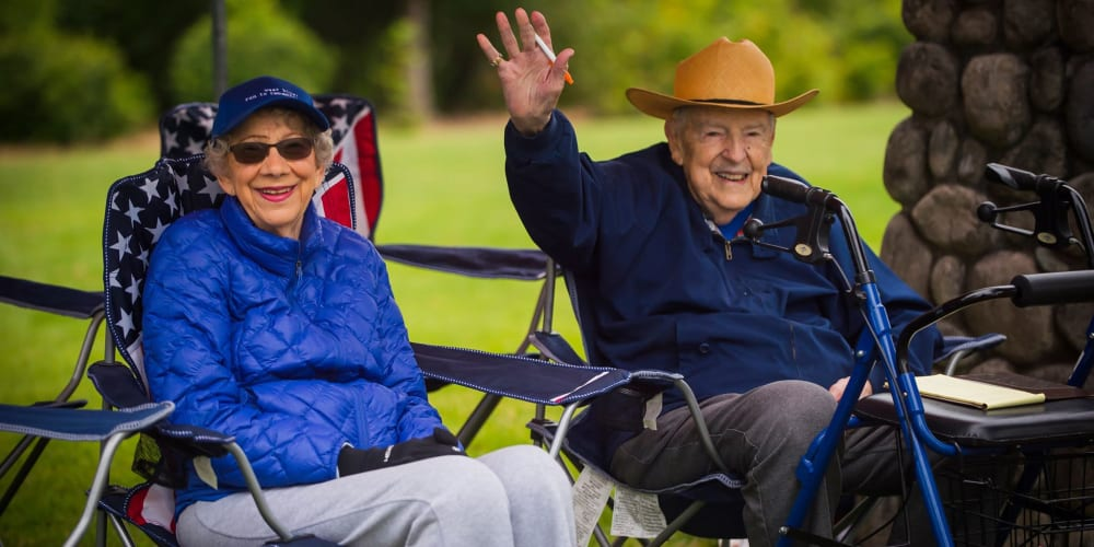 Two residents enjoying an event at Patriots Landing in DuPont, Washington.
