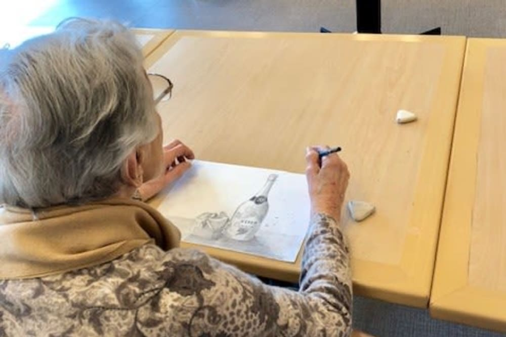 Residents taking a drawing class at Merrill Gardens at Rockridge in Oakland, California.