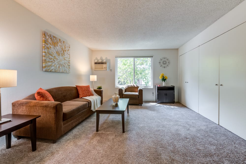 Spacious living room at The Excelsior in Studio City, California