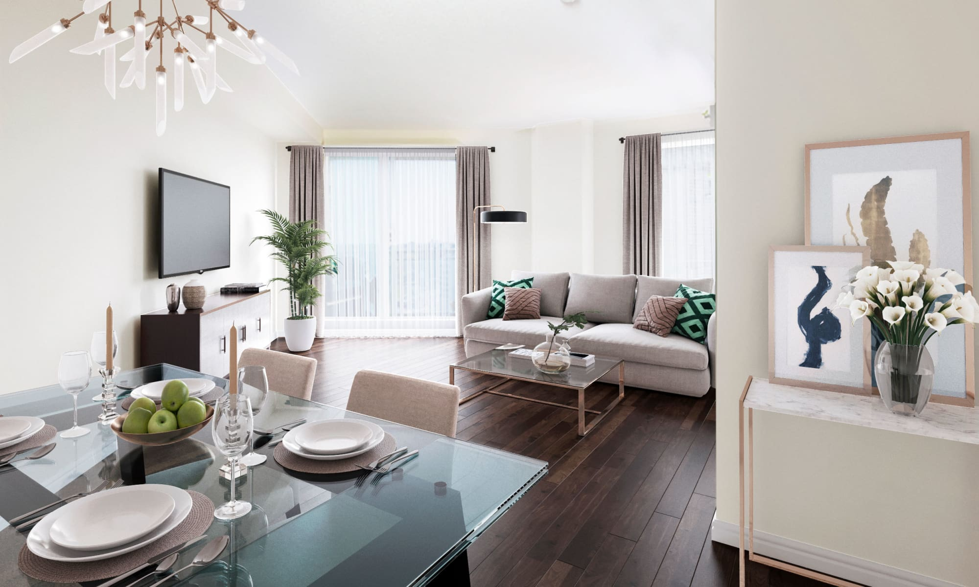 Modern living room at Discovery Pointe in Calgary, Alberta