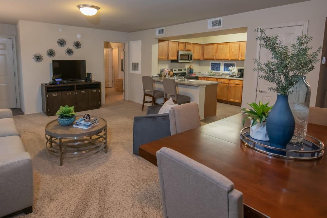 A cozy room at Cascata Apartments in Tulsa, Oklahoma