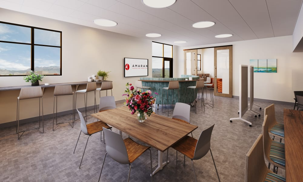 Rendering of the employee lounge at Amaran Senior Living in Albuquerque, New Mexico.