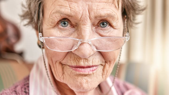 Senior Woman Wearing Eye Glasses