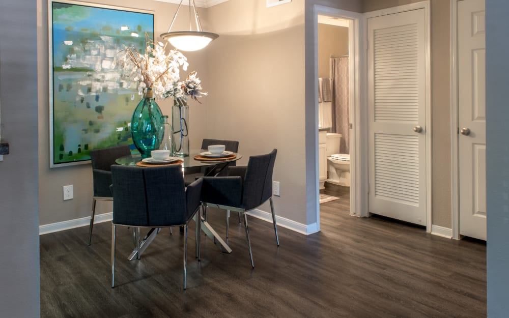 Dining room nook with wood floors at Hayden at Enclave in Houston, Texas