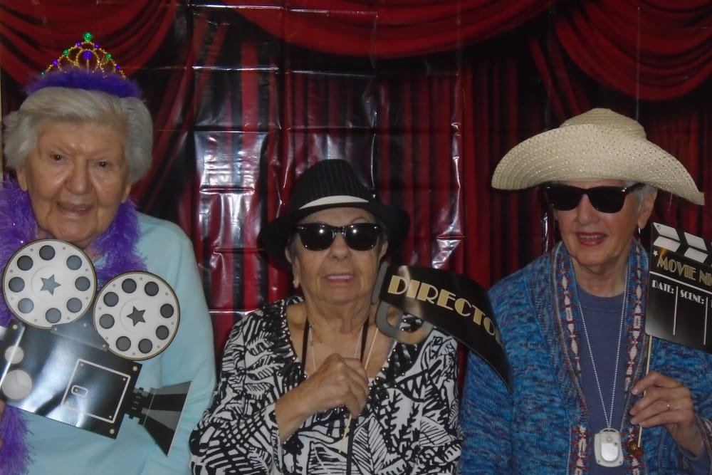 senior residents having a costume party