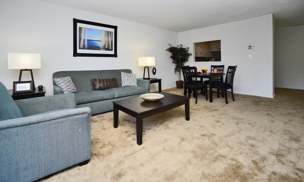Spacious living room at Towers of Windsor Park Apartment Homes in Cherry Hill, NJ