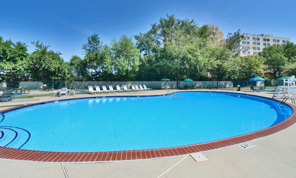Swimming pool at Towers of Windsor Park Apartment Homes in Cherry Hill, NJ
