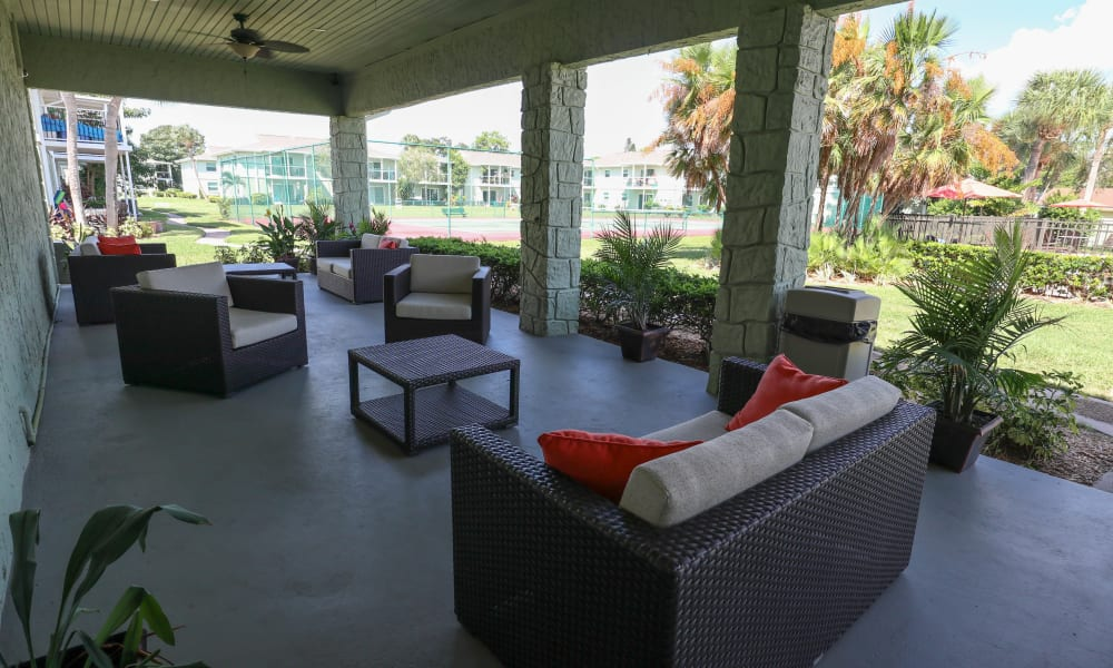 Covered Lanai overlooking the swimming pool at Ridgeview Apartments in Seminole, Florida