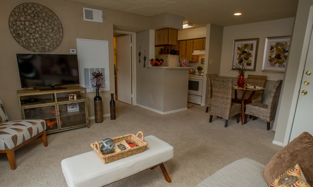 Living room and kitchen at Walnut Ridge Apartments in Corpus Christi, Texas