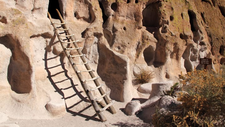 A ladder leads to a cave ruin in Bandelier National Monument, New Mexico