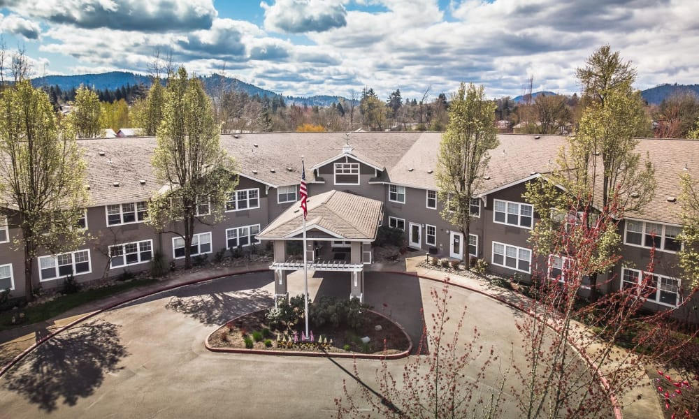 Aerial exterior of entrance to Woodside Senior Living in Springfield, Oregon