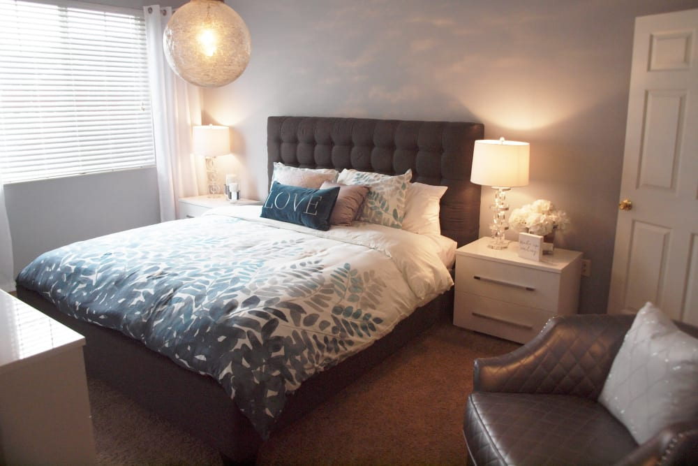 Well lit bedroom at The Landings at Beckett Ridge in West Chester, Ohio