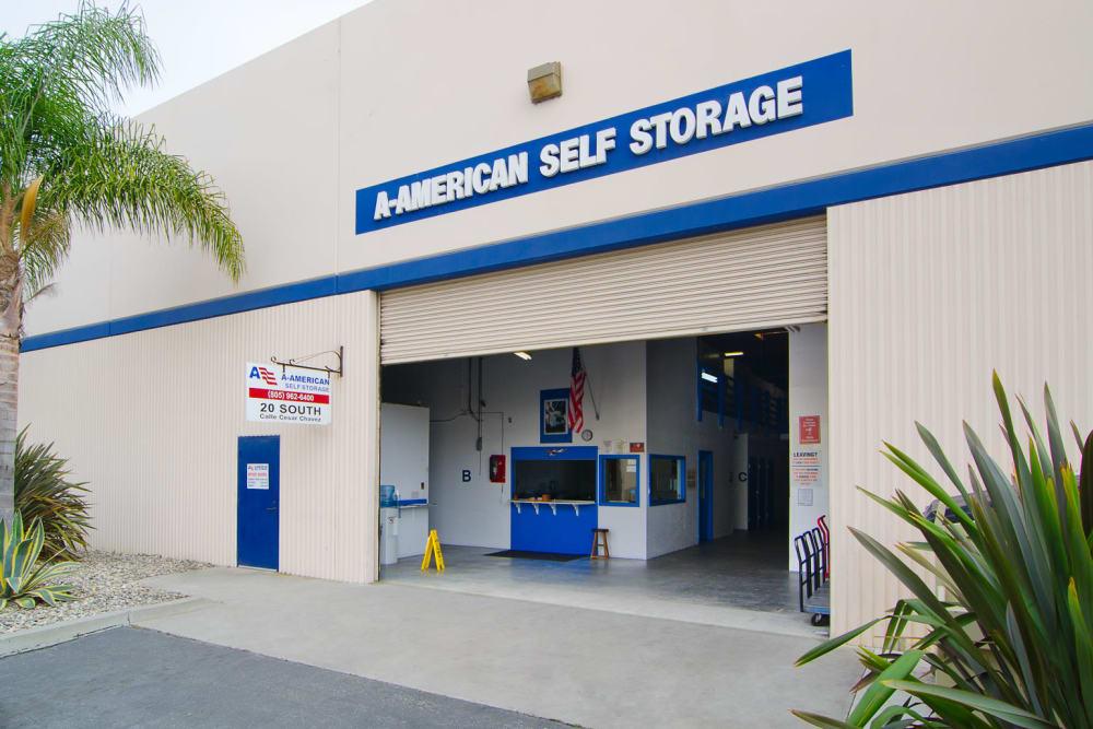 Exterior of the main entrance at A-American Self Storage in Santa Barbara, California