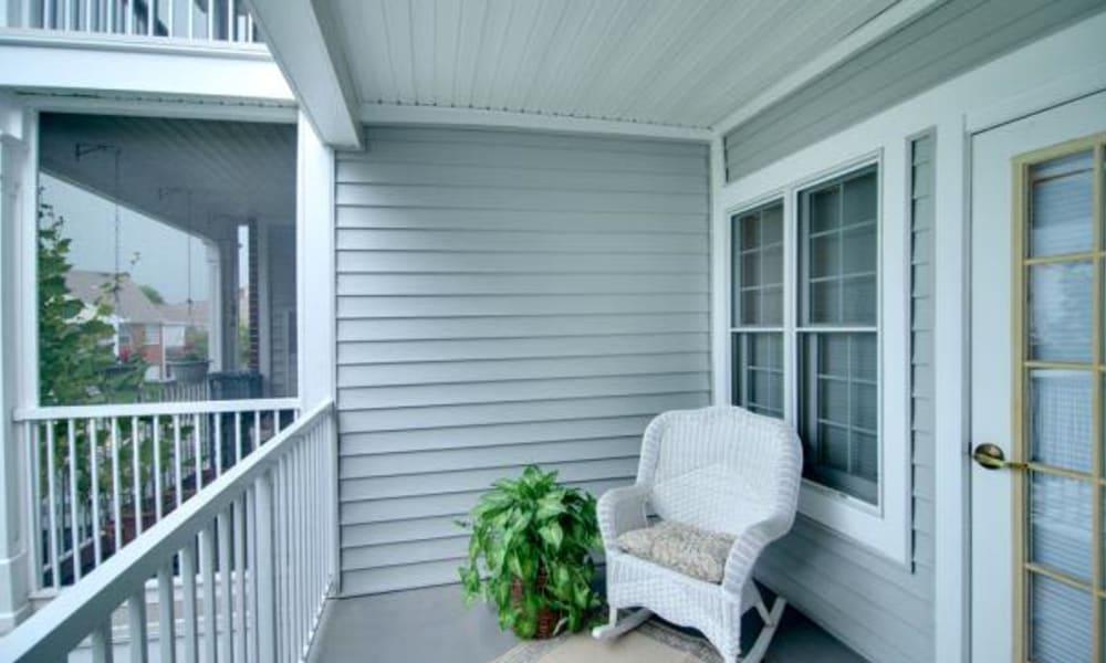 Seating on an apartment balcony at Chancellor's Village in Fredericksburg, Virginia
