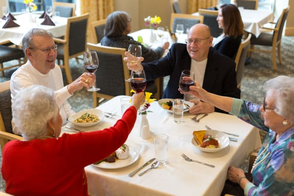 Group of senior residents toasting wine glasses