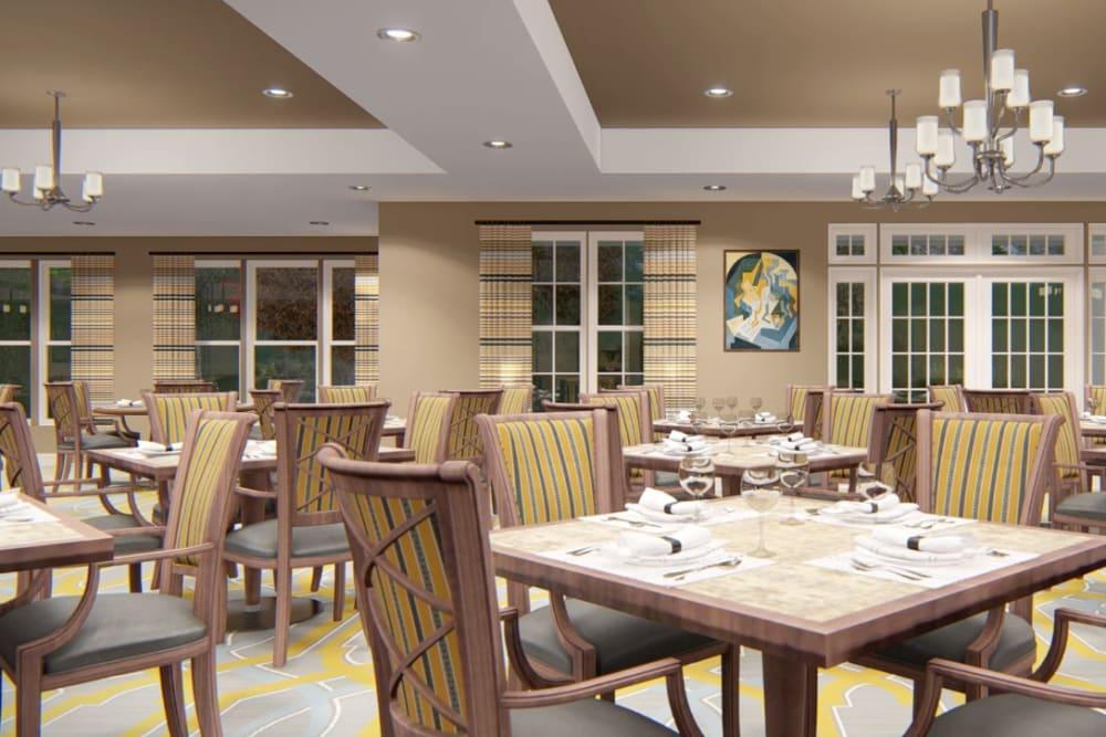 Architectural rendering of dining at Harmony at Harts Run in Glenshaw, Pennsylvania