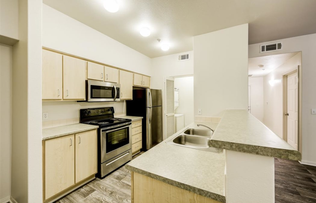 Modern kitchen with all the conveniences in model home at Sterling Pointe in Flagstaff, AZ