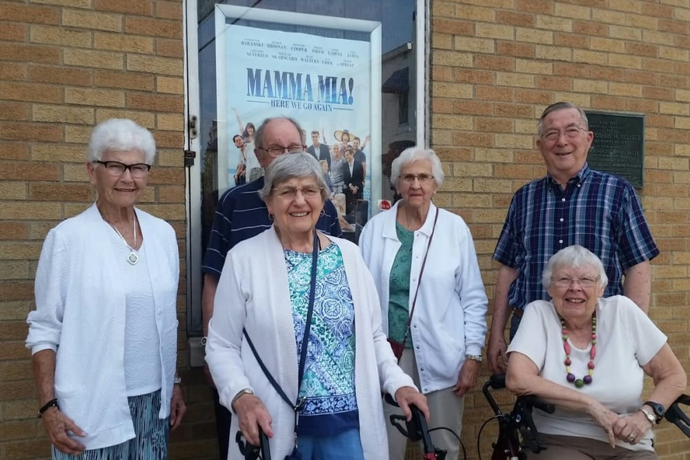 A group of residents from Senior Living at Forest Ridge in New Castle, Indiana posing for a photo
