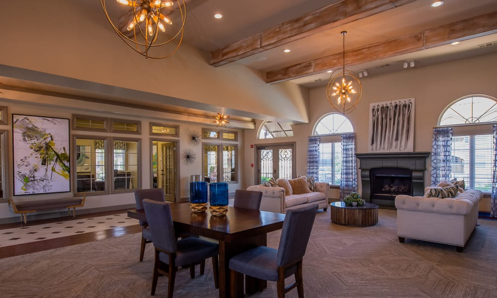 Beautiful clubhouse with fireplace at Park at Tuscany in Oklahoma City, Oklahoma