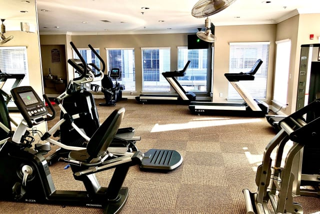 Cardio equipment at The Abbey on Lake Wyndemere in The Woodlands, TX