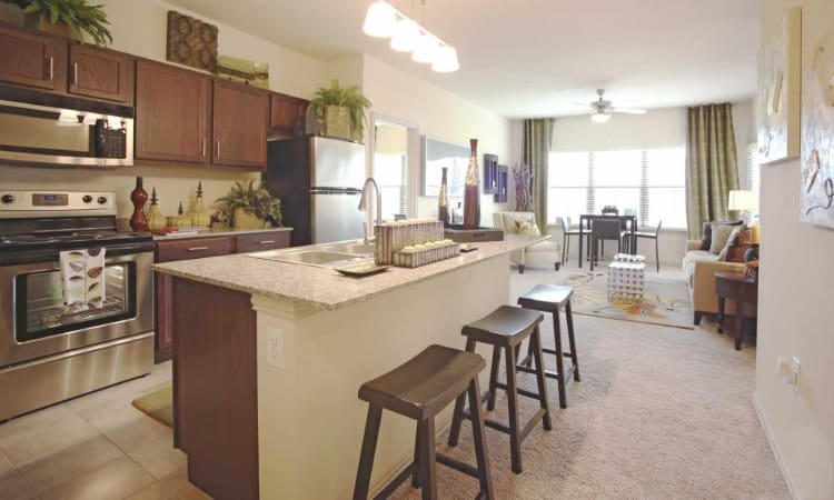 Granite countertops in kitchen and open-concept living area in model home at Evolv in Mansfield, Texas