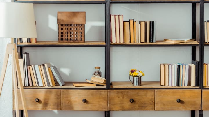 Industrial-style bookshelf with books, a house diorama, and plants on the shelves.