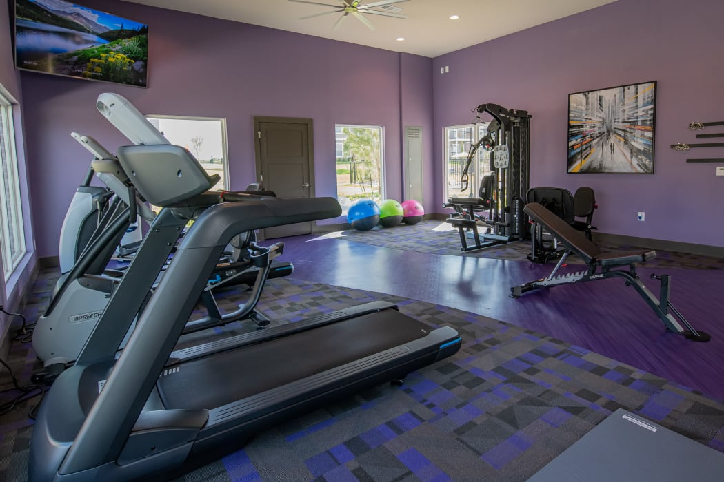 Resident use fitness center at Cottages at Crestview in Wichita, Kansas