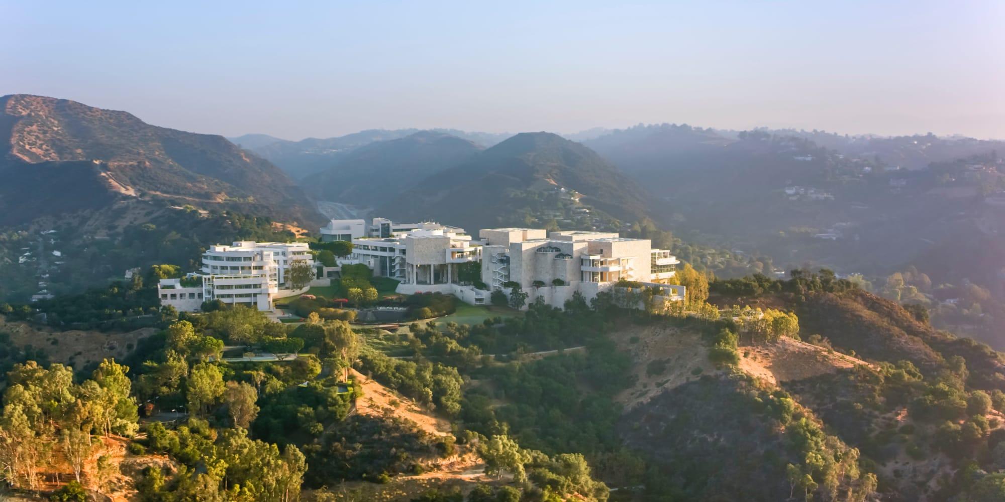Aerial view of the Getty Center near Casa Granada in Los Angeles, California