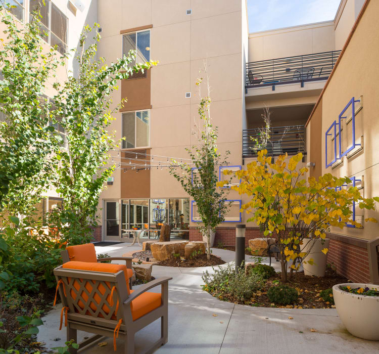 View of the beautiful memory care atrium garden at Village at Belmar