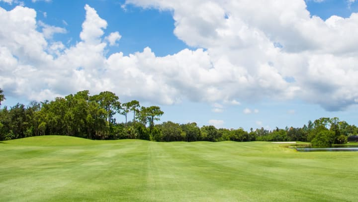 Landscape view of a lush green golf course lined with tropical trees under blue skies with white fluffy clouds