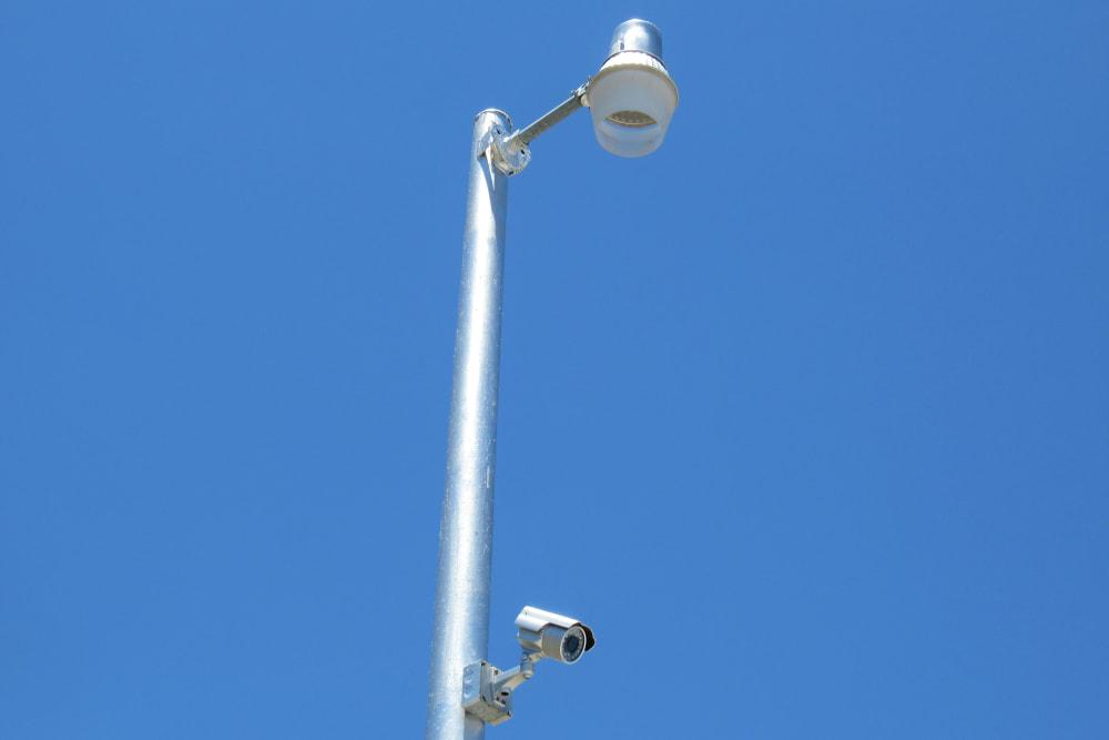 Street light with security camera at Springtown Self Storage