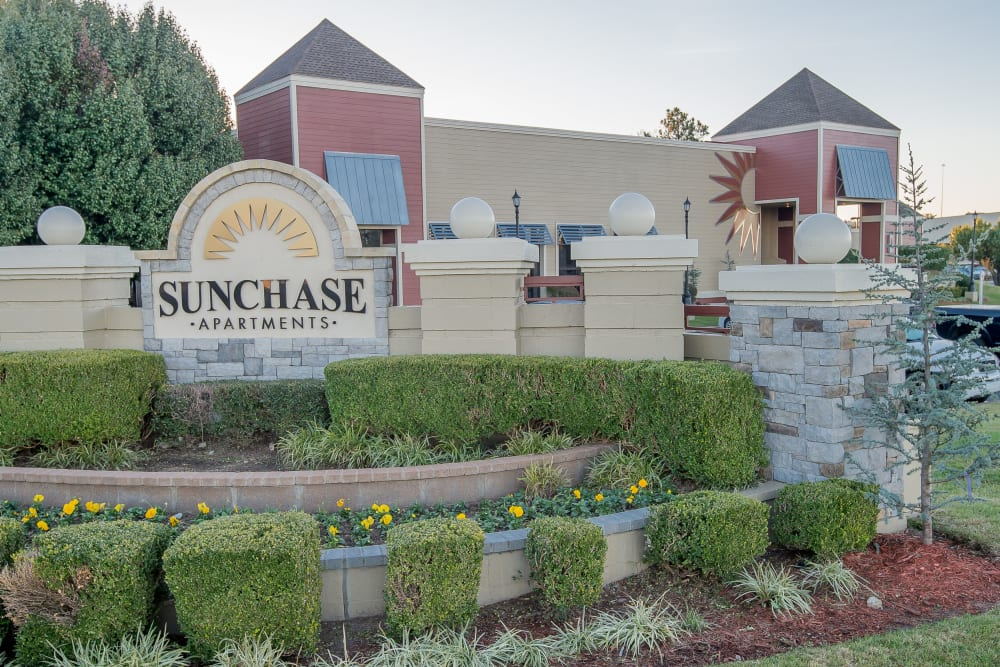 Front of the Sunchase Apartments in Tulsa, Oklahoma