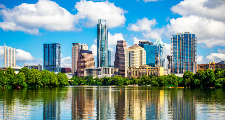 Beautiful view of downtown near Meritage at Steiner Ranch in Austin, Texas