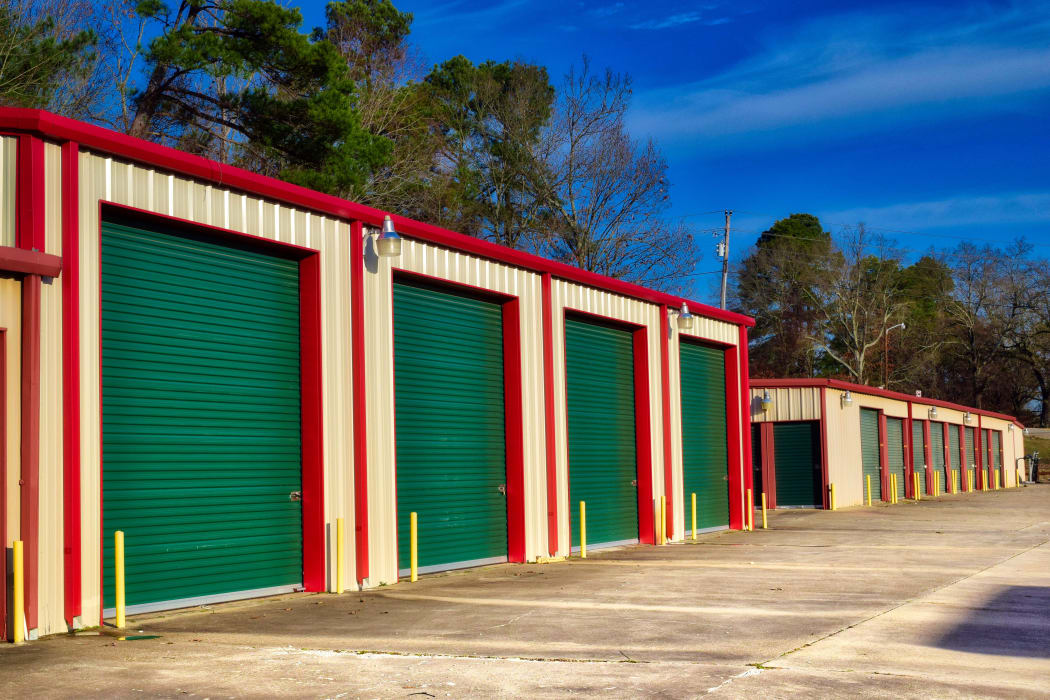 Exterior storage units at Lockaway Storage in Texarkana, Texas
