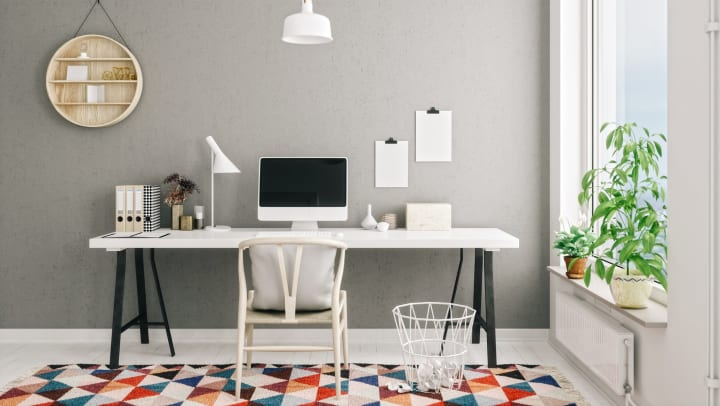 Tidy home office with minimalist interior design.