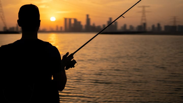 Silhouette of a man fishing with a cityscape in the background.