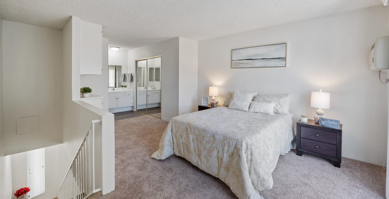 Bedroom upstairs in a townhome at The Terrace in Tarzana, California