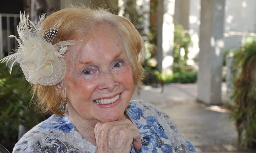 Senior dressed up at Regency Park Oak Knoll in Pasadena, California