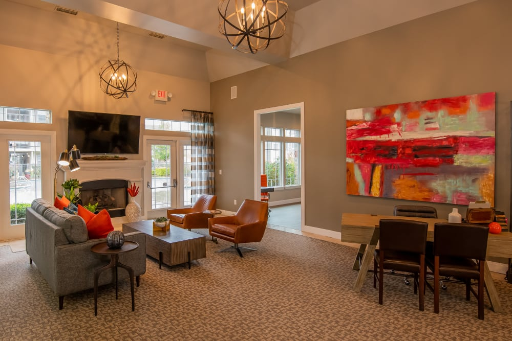 Clubhouse with leasing desk at Colonies at Hillside in Amarillo, Texas