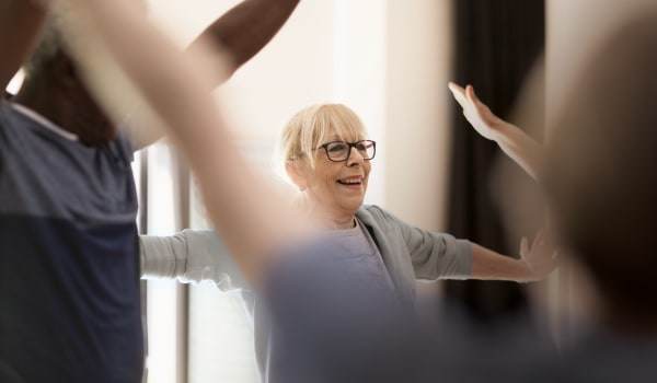 A resident in a wellness class at Anthology of Mayfield Heights - NOW OPEN! in Mayfield Heights, Ohio